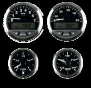 Matrix snelheidsmeter met LCD  90mph  3  zwart met RVS-rand