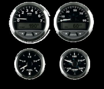Allpa Matrix snelheidsmeter met LCD  90mph  3  zwart met RVS-rand