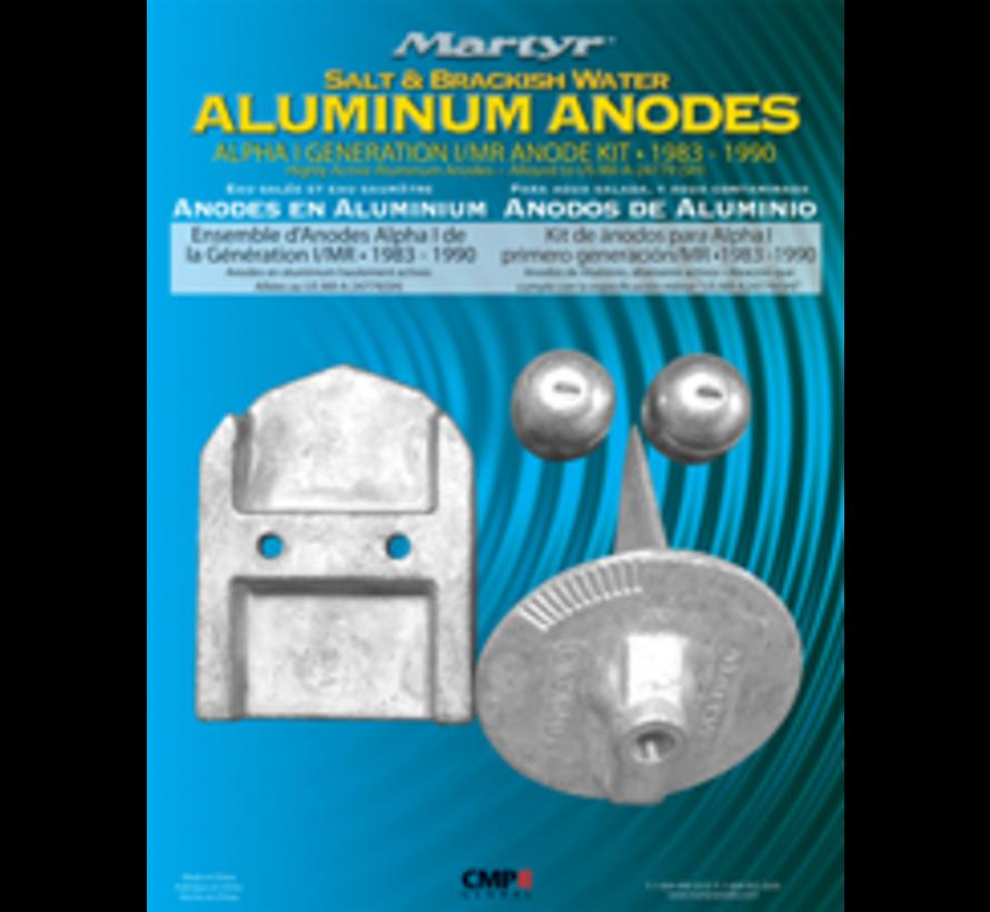 Aluminium Anode kit Alpha-1  Gen-I 1983-1990