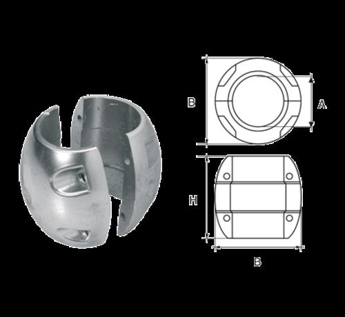 Allpa  Aluminium Anode voorDiameter 25mm-as bolvormig