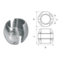 Aluminium Anode voorDiameter 25mm-as bolvormig
