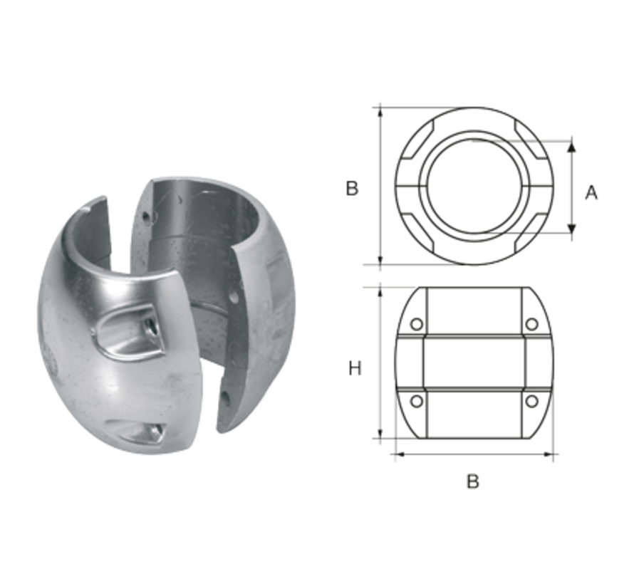 Aluminium Anode voorDiameter 35mm-as bolvormig