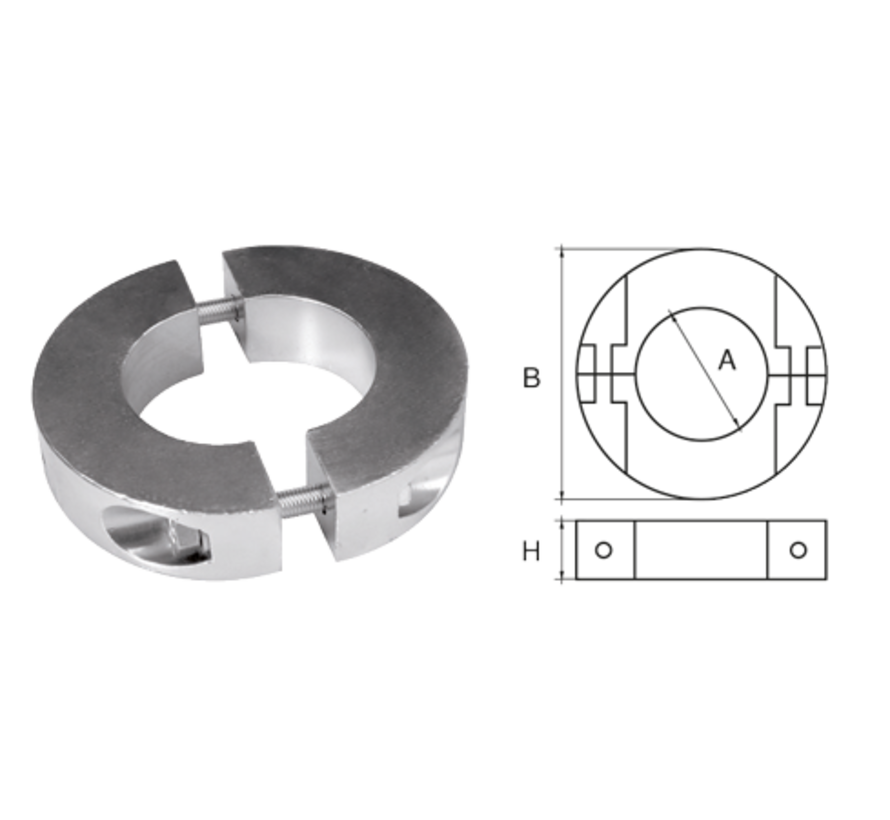 Aluminium Anode voorDiameter 45mm-as ringvormig/dun