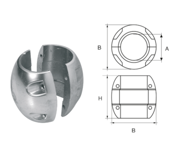 Allpa Zinkanode voorDiameter 32mm-as bolvormig