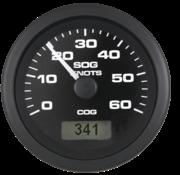 Premier Pro GPS snelheidsmeter 60 knopen  zwart met zwarte rand