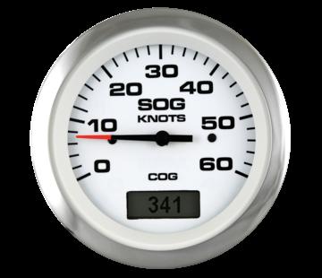 Allpa Lido Pro GPS snelheidsmeter 30 knopen  wit met RVS-rand
