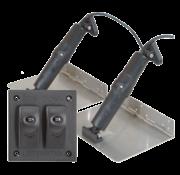 Elektrische trim tab set  9x9  12V (boot 14'-18'/4-5 5m) incl. bedienpaneel (double rocker switch)