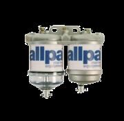 Racor Dubbel brandstoffilter voor diesel  met waterafscheider  50l/u  met 1 kunststof- & 1 alu. reservoir