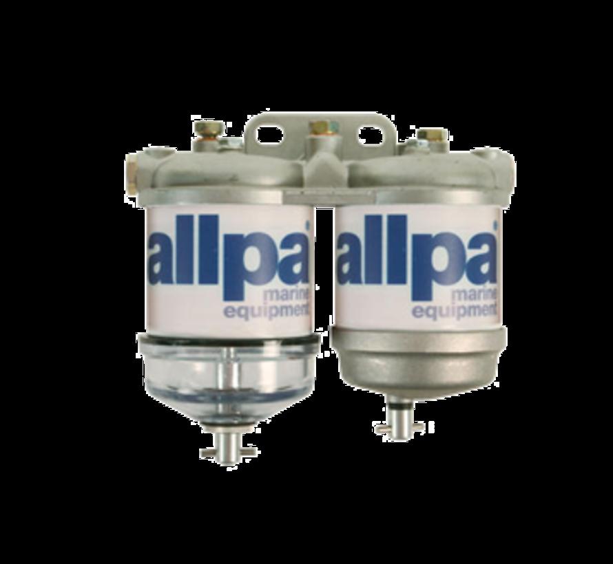 allpa Dubbel brandstoffilter voor diesel  met waterafscheider  50l/u  met 2 aluminium reservoir