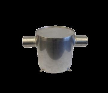 Allpa RVS waterlock  verticaal  slangaansluiting Diameter 75mm  H=300mm  Diameter 300mm