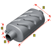Allpa Kunststof uitlaatdemper  slangaansluiting Diameter 45mm