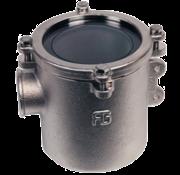 Brons-Vernikkeld koelwaterfilter (robuust) met RVS 316 zeef  1-1/4  H=178mm  12500l/h