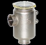 Messing-vernikkeld koelwaterfilter met RVS 316 zeef  3/8  H=105mm  1800l/u