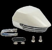Messing verchroomde elektromagn. scheepshoorn met witte Kunststof Kap  1-tonig  L=155mm  12V