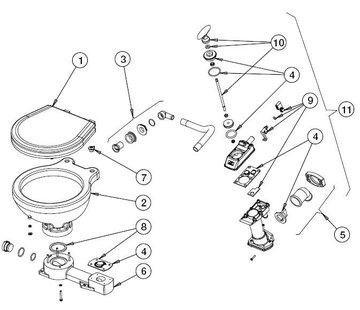 Johnson Johnson Pump uitlaatknie met klep voor scheepstoilet Johnson compact model