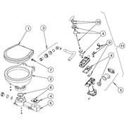 Johnson Johnson Pump plastic voetstuk met pakkingring voor scheepstoilet Johnson compact model