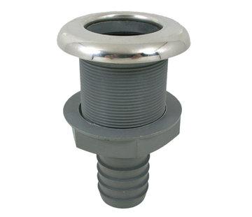 Allpa Kunststof rechte huiddoorvoer met RVS flens   Diamter 3/4 x 19mm  L=86mm  flens  Diamter 48mm