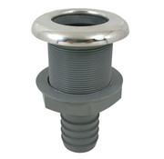 Allpa Kunststof rechte huiddoorvoer met RVS flens   Diamter 1-1/4 x 32mm  L=103mm  flens  Diamter 60mm