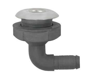 Allpa Kunststof haakse huiddoorvoer met RVS flens   Diamter 1-1/2 x 38mm  L=112mm  flens  Diamter 60mm