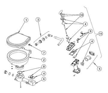 Johnson Johnson Pump reparatieset voor scheepstoilet Johnson compact model