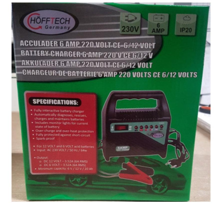 Acculader 6/12 volt  6 ampere