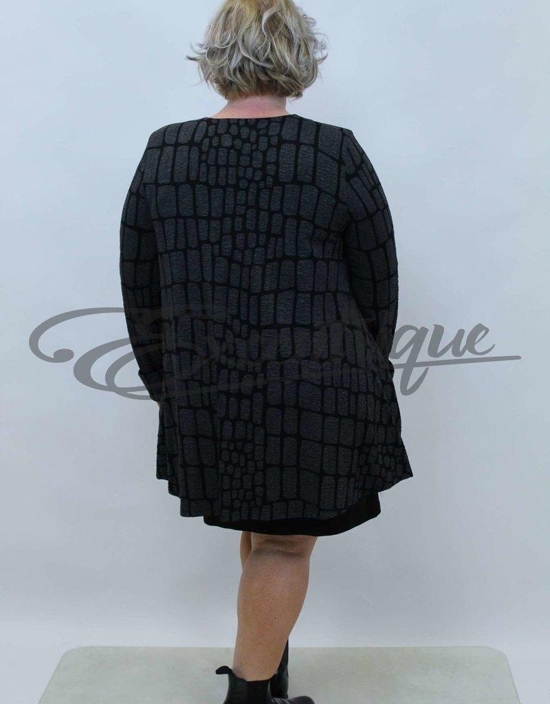 New Jersey - Vest +Size - Zwart Grijze Vlakken :