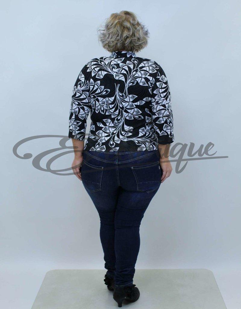 New Jersey - Shirt (Model Vest&Top) -  Zwart Wit Blad Motief :