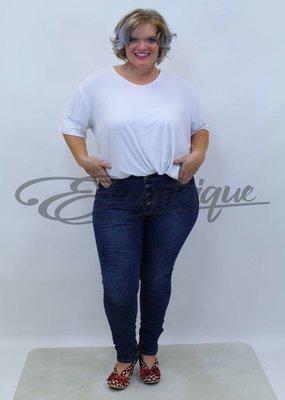 Karostar Karostar - Jeans - DenimBlue Bloemendruk  :
