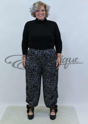 New Jersey - Pantalon -  Zwart Grijs Barok Print :