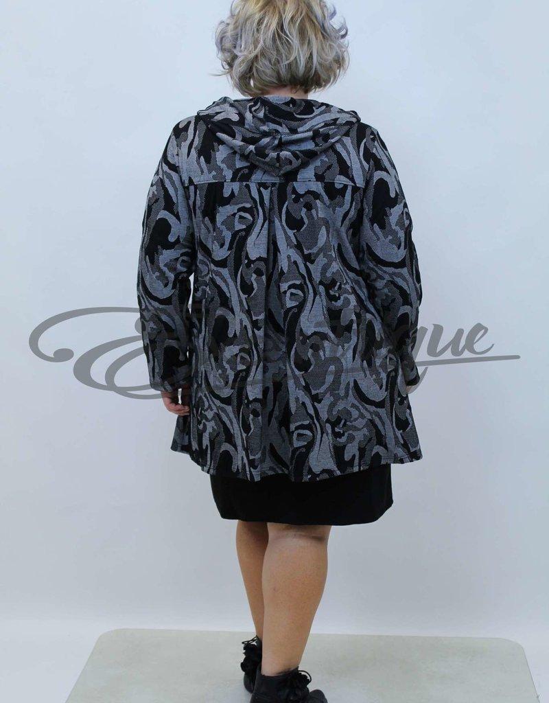 New Jersey - Vest met capuchon - Zwart Grijs Gevlamd :
