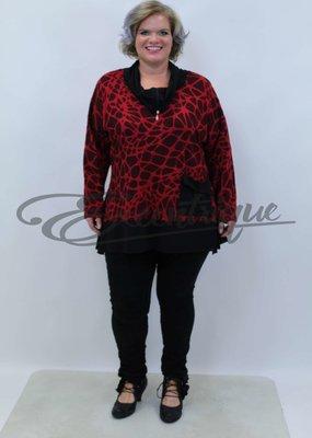 New Jersey - Pullover - Rood Zwart Motief :
