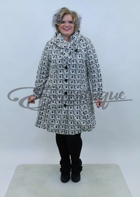 New Jersey - Jas met capuchon - Wit Zwart Streep Blok :