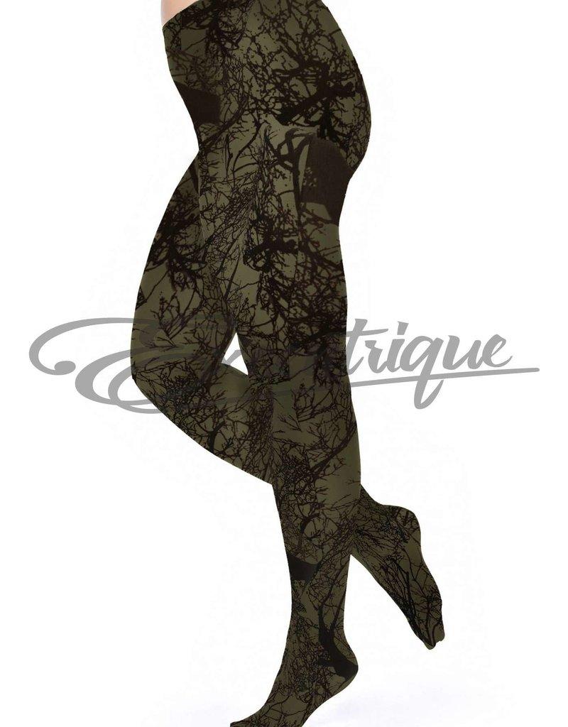 Pamela Mann Pamela Mann - Panty Tree Printed Curvy - 50D - OliveGreen Black :