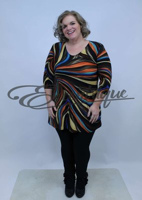 Magna - Tuniek B6004 - Brick Bruin Bont Streep :