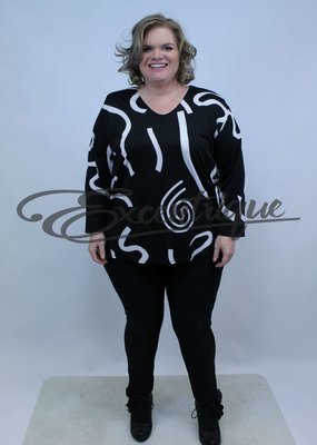 Magna - Shirt Lange Mouw B03 - Zwart Witte Kringel :