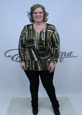 Magna - Shirt Lange Mouw B03 - OlijfGroen Bont Streep :