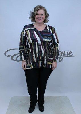 Magna - Shirt Lange Mouw B03 - Paars Bonte Streep :