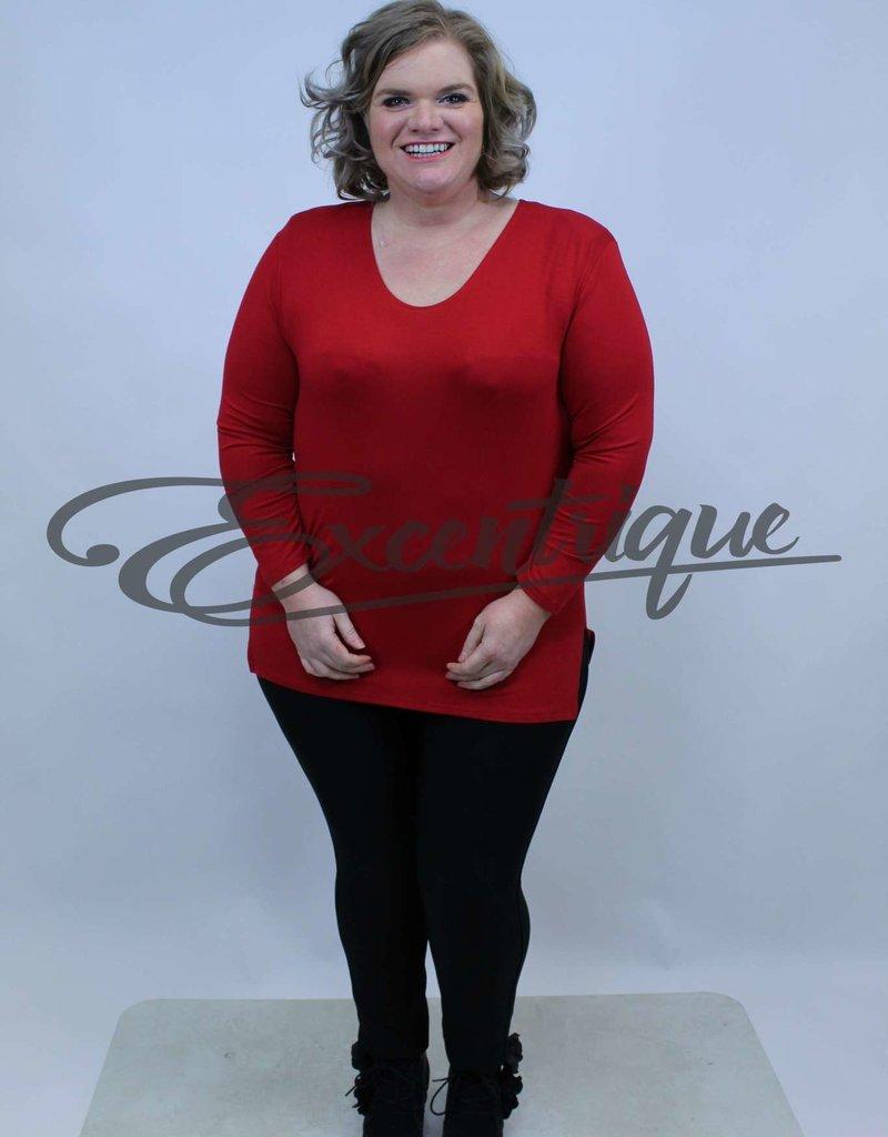 Magna - Shirt Lange Mouw B03  - Rood :