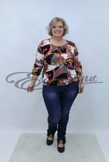 """NewJersey - Shirt """"Daisy"""" - Zwart Wit Rood Bloem Patroon :"""