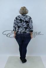 """NewJersey - Shirt """"Jill"""" (Vest&Top in 1) - Zwart Wit Blad Motief :"""