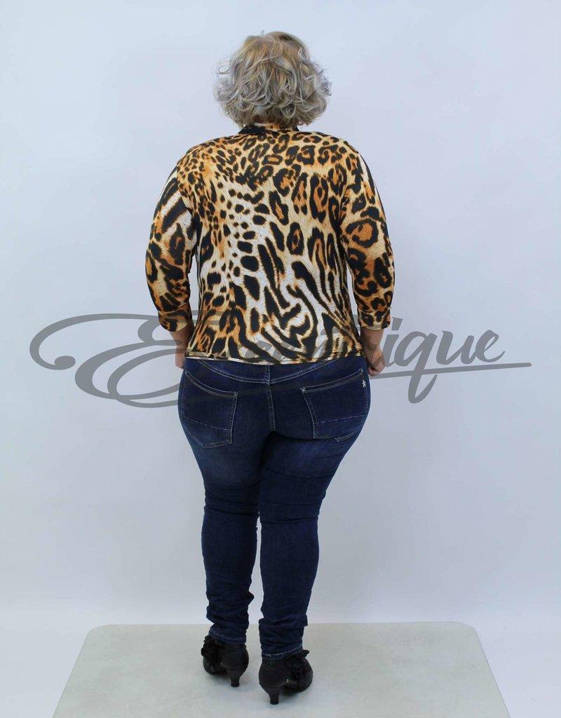 """NewJersey - Shirt """"Jill"""" (Vest&Top in 1) - Bruine Tijgerprint :"""