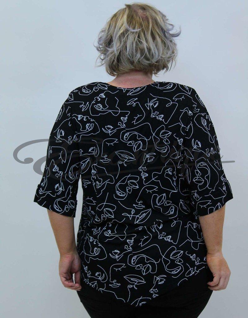 "NewJersey - Shirt ""Lucie"" - Zwart Witte Vrouw Abstract :"