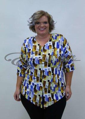 """NewJersey - Shirt """"Lucie"""" - Wit met Bonte Blok Bruin/Blauw :"""