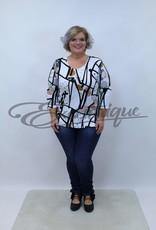 """NewJersey - Shirt """"Donna"""" - Wit Zwart Beige Grijs Abstract :"""