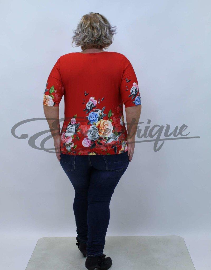 """NewJersey - Shirt """"Donna"""" - Rood Rozenboeket :"""