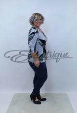 "NewJersey - Shirt ""Donna"" - Zwart Wit Turquise Blad :"