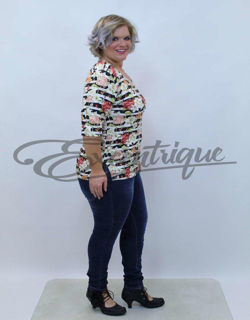 """NewJersey - Shirt """"Donna"""" - Zwart/Beige Streep Bloementuin :"""