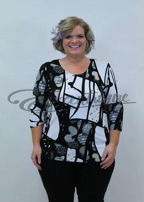 """NewJersey - Shirt """"Donna"""" - Artistiek Zwart Wit Print :"""