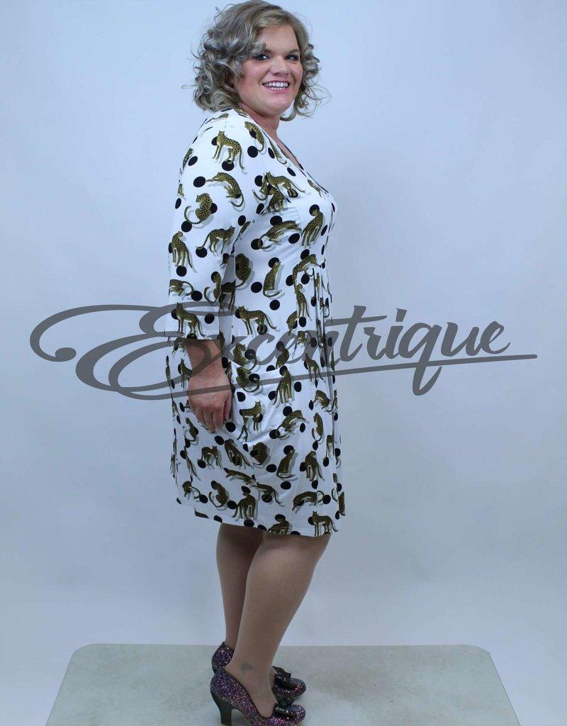 "NewJersey - Jurk ""Diana"" - Wit Zwarte Bol Luipaard :"