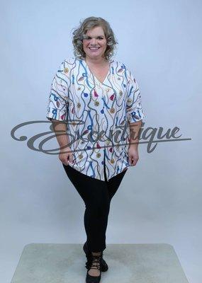 "NewJersey - Shirt ""Lucie"" - Wit Blauwe Riem Kettingen :"